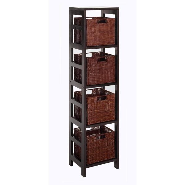 Leo 5pc Storage Shelf With Basket Set 4 Small Baskets Ojcommerce