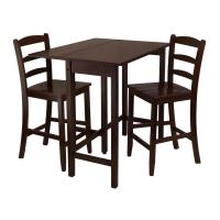 Winsome Lynnwood 3pc Drop Leaf High Table with 2 Counter ...