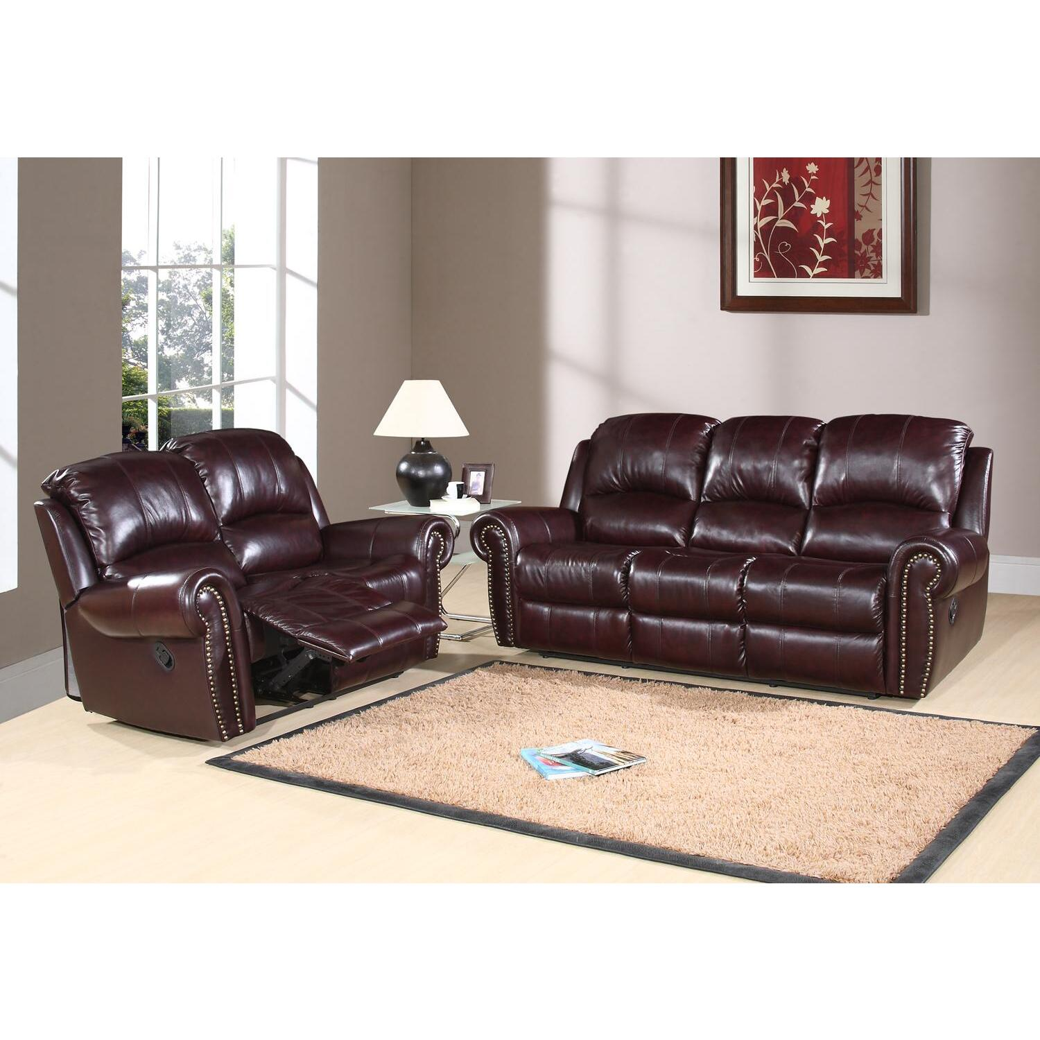 Reclining Italian Leather Sofa and Loveseat  OJCommerce