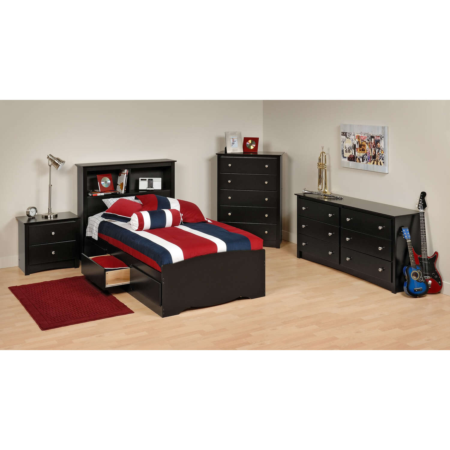Prepac Black Sonoma Twin Bedroom Set by OJ Commerce 699