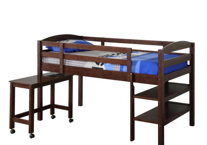 Wood Twin Loft Bed With Desk