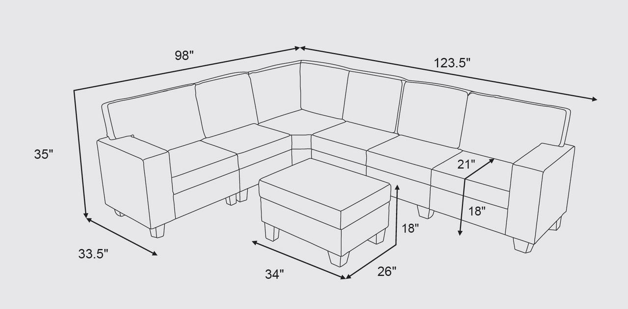Lilola Home Casanova 7Pc Modular Sectional Sofa with