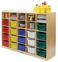 25 Tray Birch Storage Cabinet w/ 25 Bins | OJCommerce