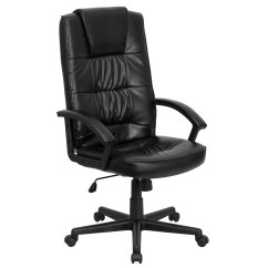 Black Leather Desk Chairs Chair Yoga Poses For Seniors Flash Furniture High Back Executive Office