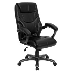 Black Leather Office Chair High Back Tattooing Chairs For Sale Flash Furniture Overstuffed