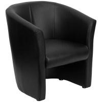 Flash Black Leather Barrel-Shaped Guest Chair by OJ ...