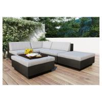 Park Terrace Textured Black 5 Piece Sectional Patio Set ...
