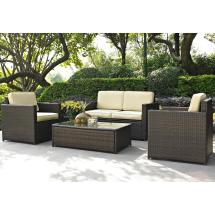 Palm Harbor 4 Piece Outdoor Wicker Seating Set - Loveseat