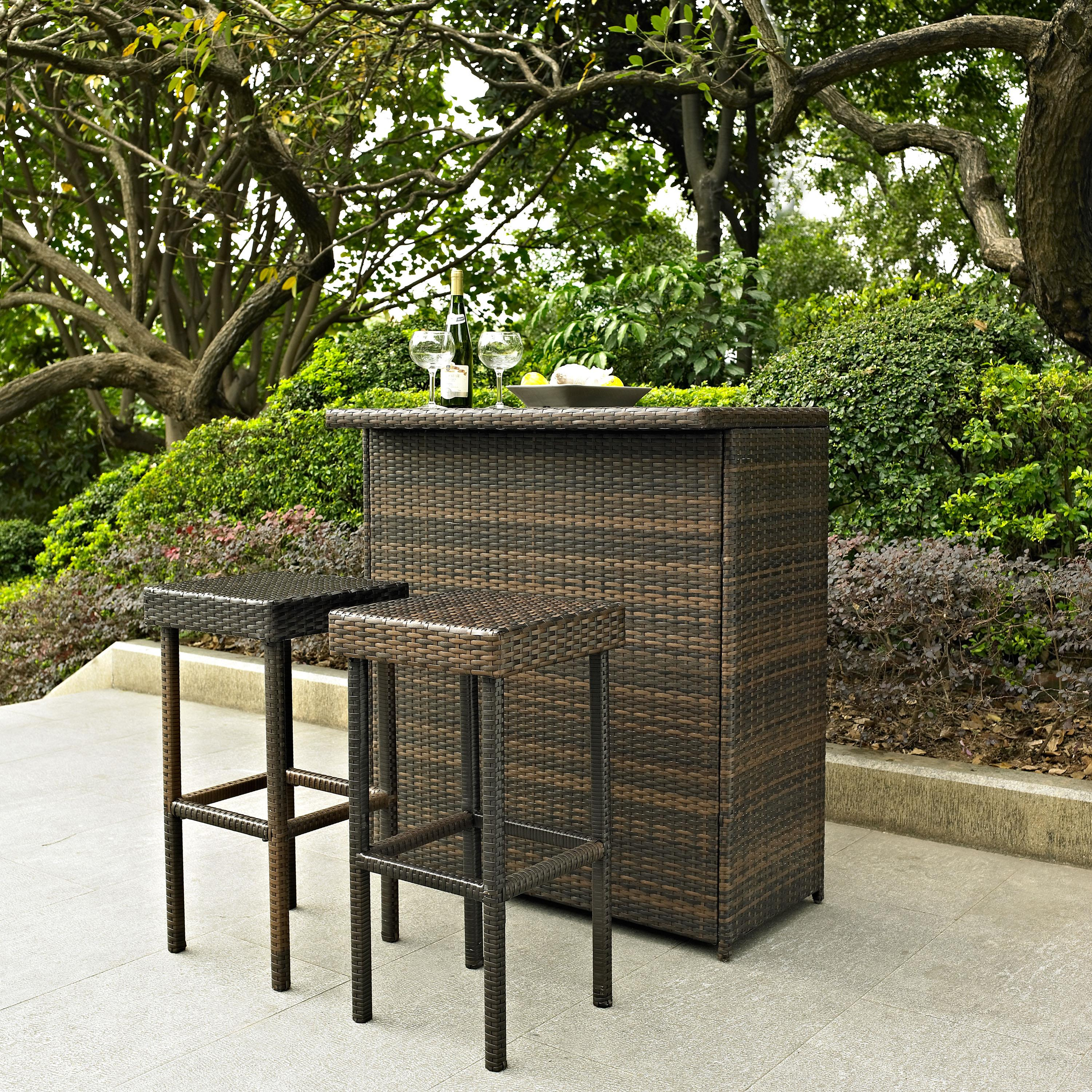 Palm Harbor 3 Piece Outdoor Wicker Bar Set  Table  Two