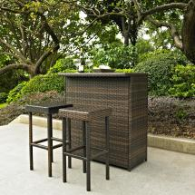 Palm Harbor 3 Piece Outdoor Wicker Bar Set - Table & Two