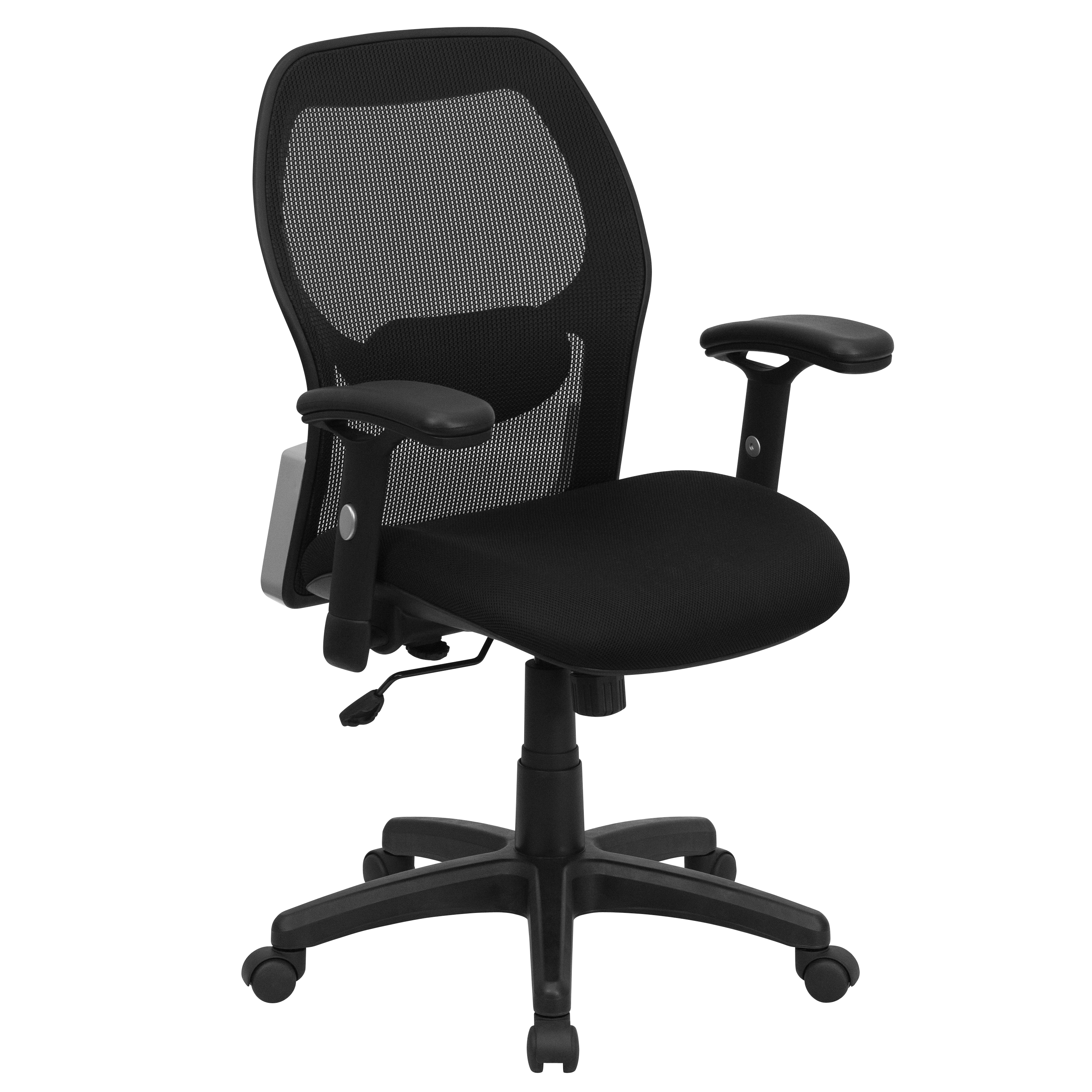 black mesh office chair victoria bentwood rocking flash super with fabric seat by oj