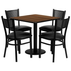Steel Vinyl Chair Mid Century Styles Flash Furniture Square Table Set With 4 Grid Back Metal Chairs Seat