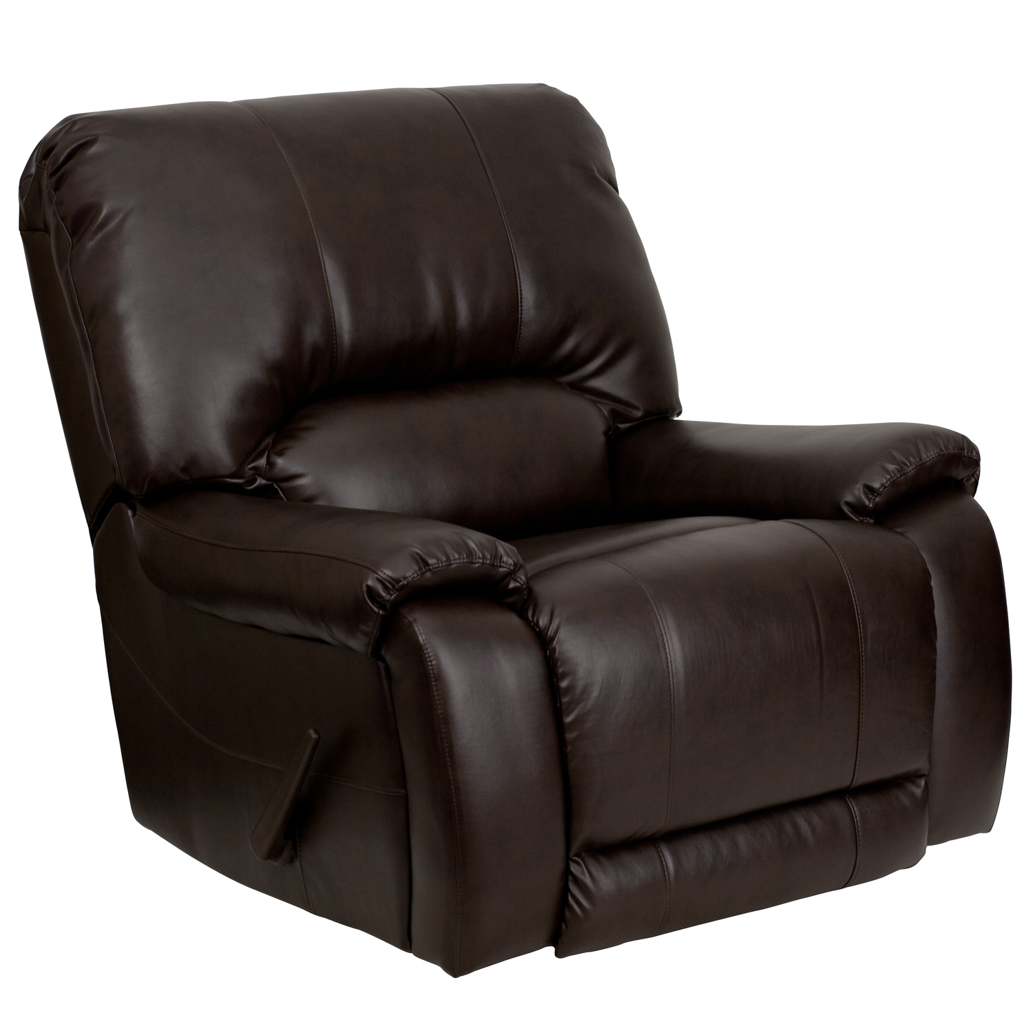 brown leather recliner chair patio cushion covers flash furniture overstuffed lever rocker