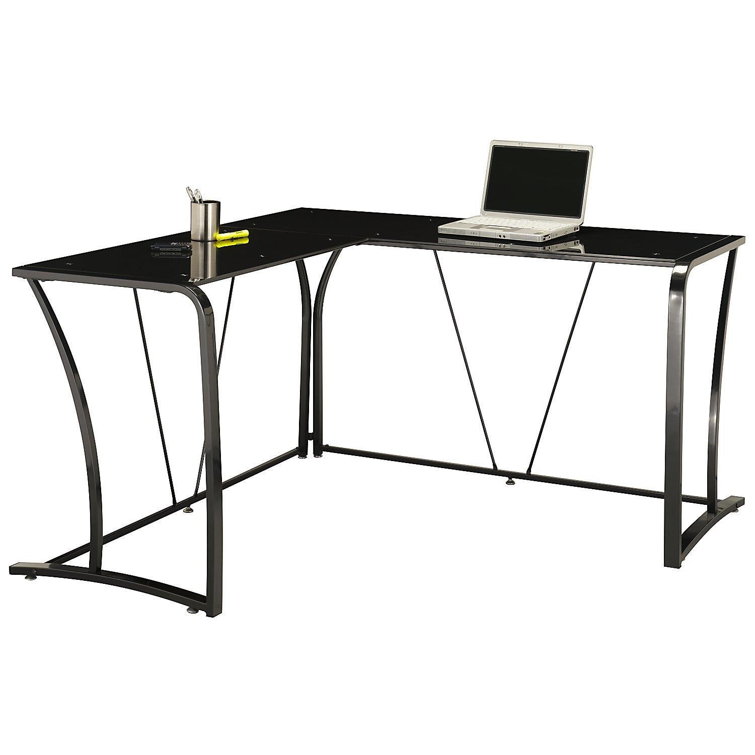 steel chair bush home depot dining chairs furniture metal and glass l desk by oj commerce my72715