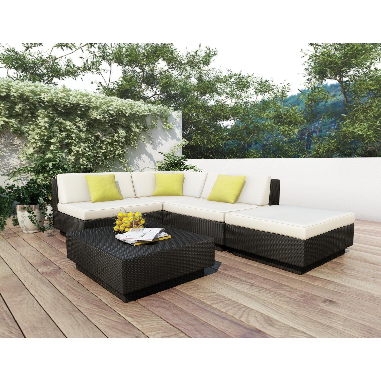 black aluminum outdoor sofa air coil sleeper mattress sonax textured 5 piece patio sectional set by oj