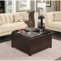 Convenience Concepts Times Square Ottoman with 4 Tray Tops ...