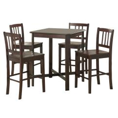High Top Table Chair Set Desk And For Child 5 Piece Solid Wood Pub Dark Ojcommerce