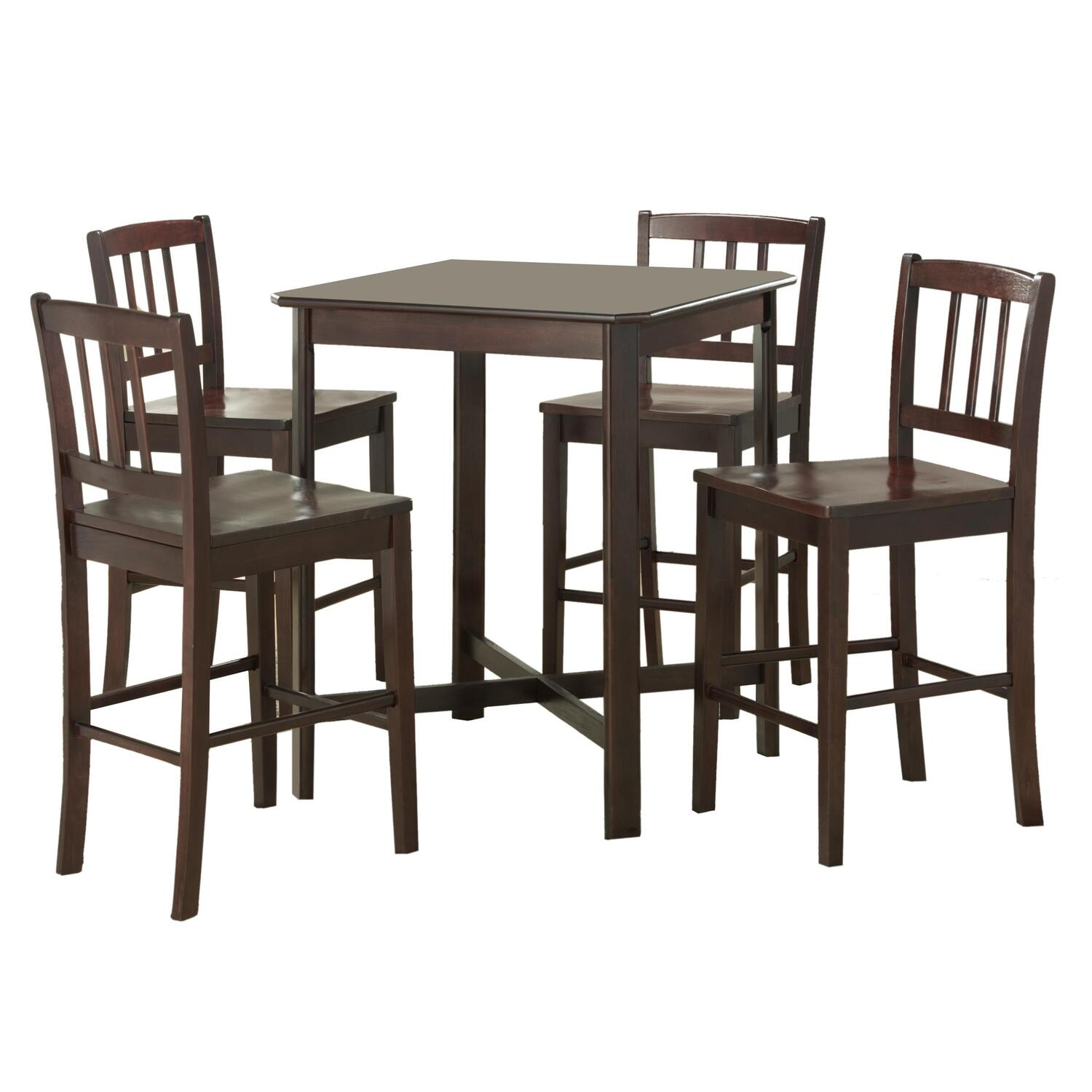 Table Top High Chair 5 Piece Solid Wood Pub Table Set Dark Wood Ojcommerce