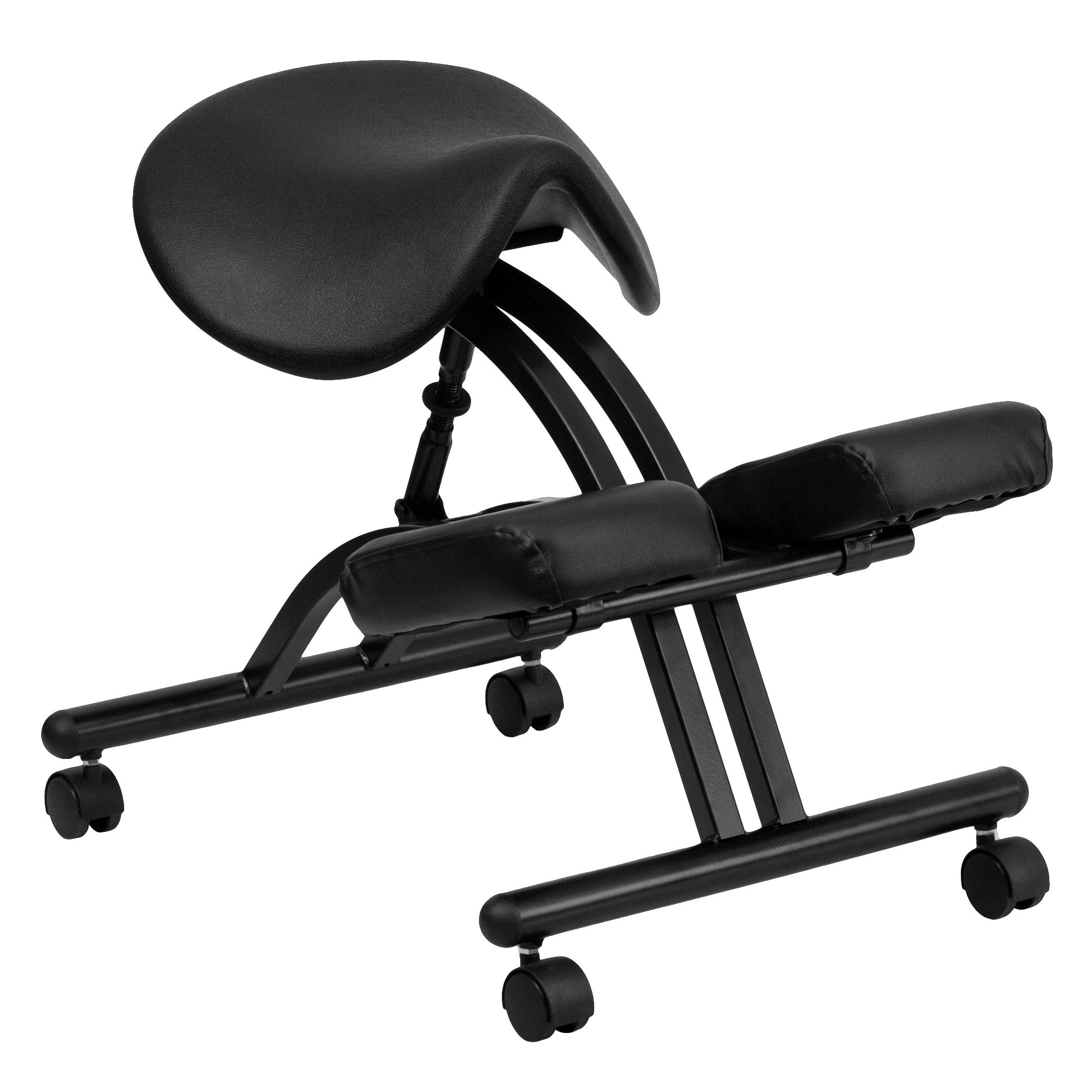 ergonomic chair knee rest target grey dorm flash kneeling with black saddle seat by