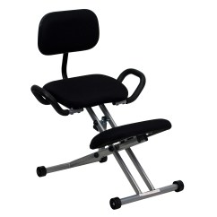 Ergonomic Chair Kneeling Wooden High With Tray Flash In Black Fabric Back