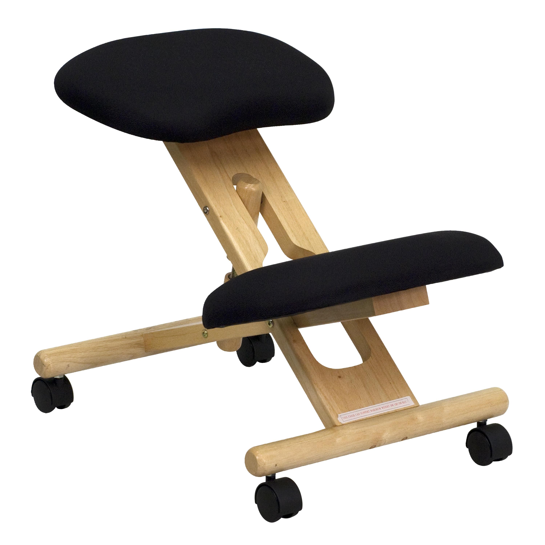 Flash Mobile Wooden Ergonomic Kneeling Chair in Black