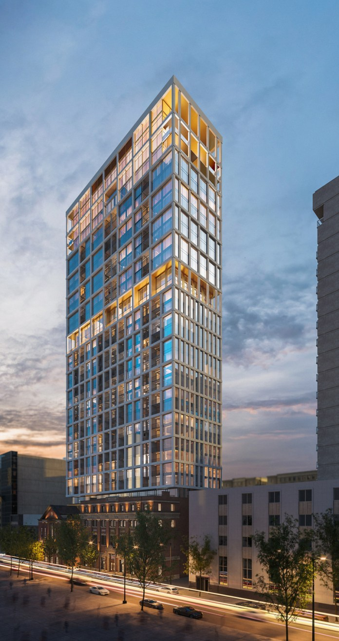 Press kit | 618-12 - Press release | LEMAYMICHAUD Rewarded With a Popular Choice Award at the 2021 Architizer A+Awards! - LEMAYMICHAUD Architecture Design - Residential Architecture - View on the residential tower - Photo credit: Devimco Immobilier