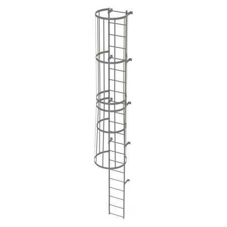 Tri-Arc Fixed Ladder w/ Safety Cage, Steel, 20 ft