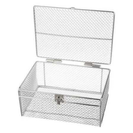 Marlin Steel Wire Products Mesh Basket w/Lid, Silver, SS