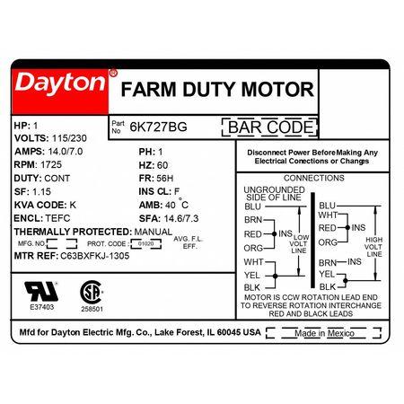 Dayton Farm Duty Mtr, Cap Start, TEFC, 1hp, 1725rpm 6K727