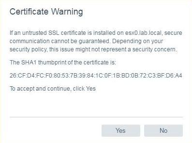 Install VCSA 6.5 - VCSA certificate warning
