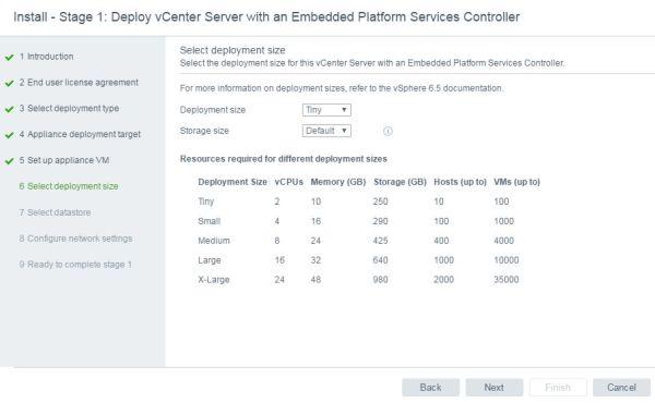Install VCSA 6.5 - VCSA deployment size