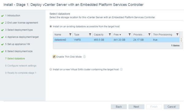 Install VCSA 6.5 - VCSA select datastore