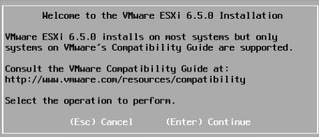 Welcome to the VMware ESXi 6.5.0 Installation