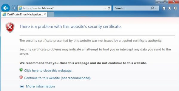 vCenter SSL Certificate - Internet Explorer Error