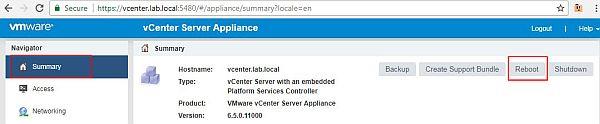 Update vCenter Server Appliance - Reboot