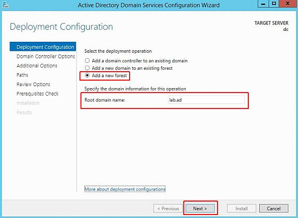 Install Active Directory - Deployment Configuration