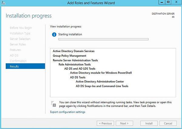 Install Active Directory - Installation Progress