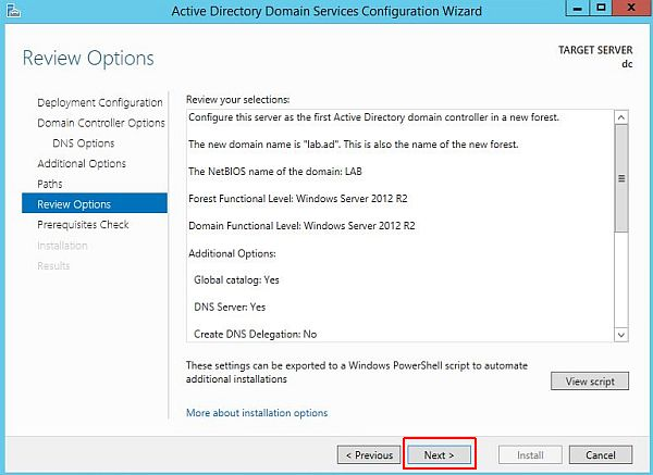 Install Active Directory - Review Options