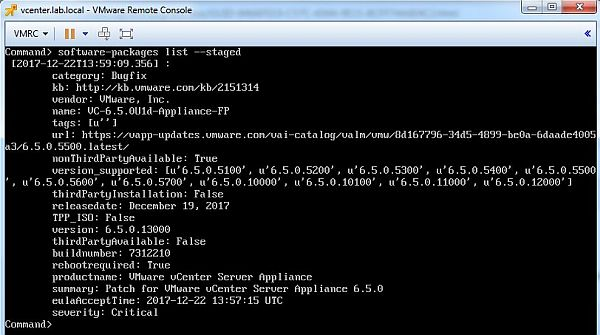 Update vCenter Server Appliance - List Staged