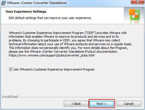 vCenter Converter Standalone - CEIP