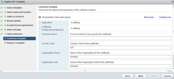Install vRealize Suite Lifecycle Manager - Certificate Configuration