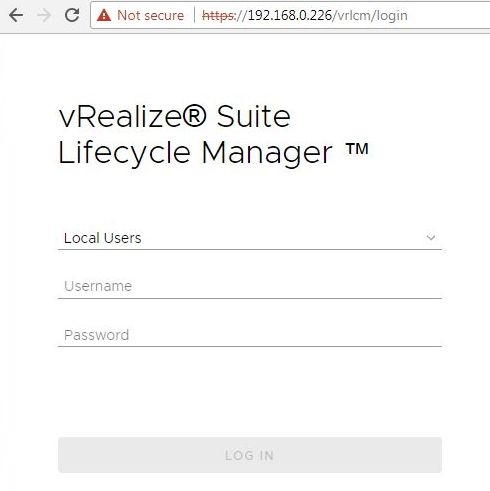 Install vRealize Suite Lifecycle Manager - Login