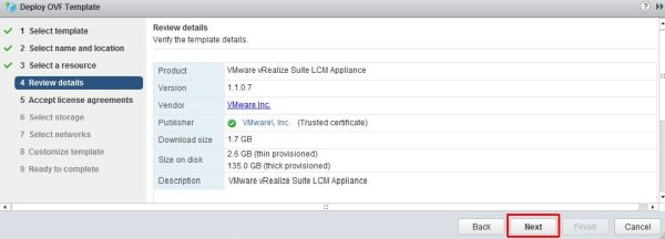 Install vRealize Suite Lifecycle Manager - Review Details