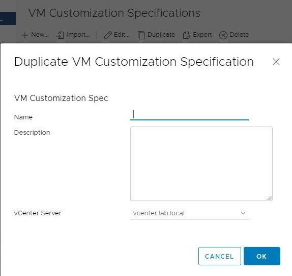 vSphere HTML5 Web Client Fling - Duplicate VM Customization