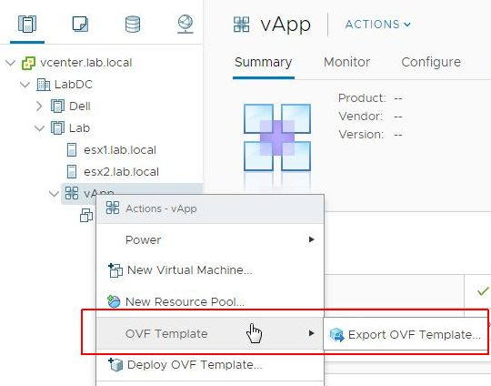vSphere HTML5 Web Client Fling v3.32 - Export OVF Template