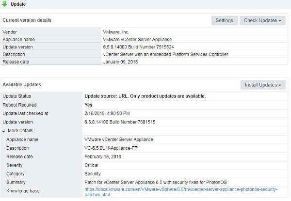 vCenter Server 6.5 U1f - Update