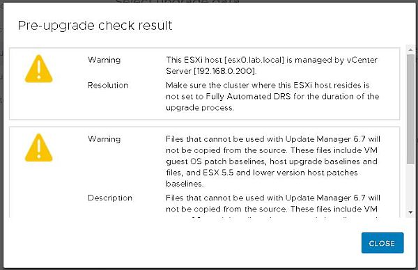 Upgrade vCenter Server Appliance from 6.5 to 6.7 - Check Result