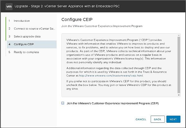 Upgrade vCenter Server Appliance from 6.5 to 6.7 - Configure CEIP