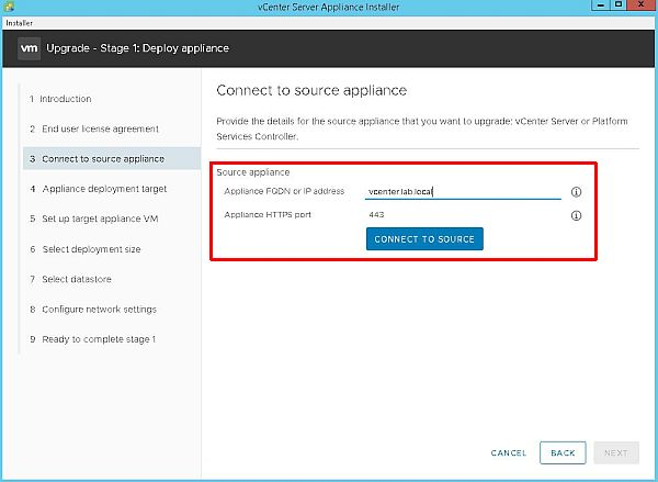 Upgrade vCenter Server Appliance from 6.5 to 6.7 - Connect to Source Appliance