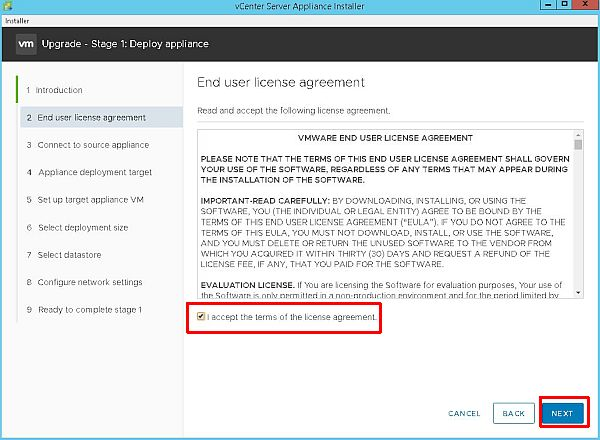 Upgrade vCenter Server Appliance from 6.5 to 6.7 - End User License Agreement